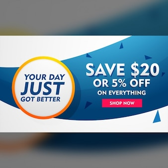 White and blue discount coupon