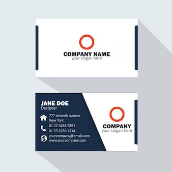 White and dark blue business card