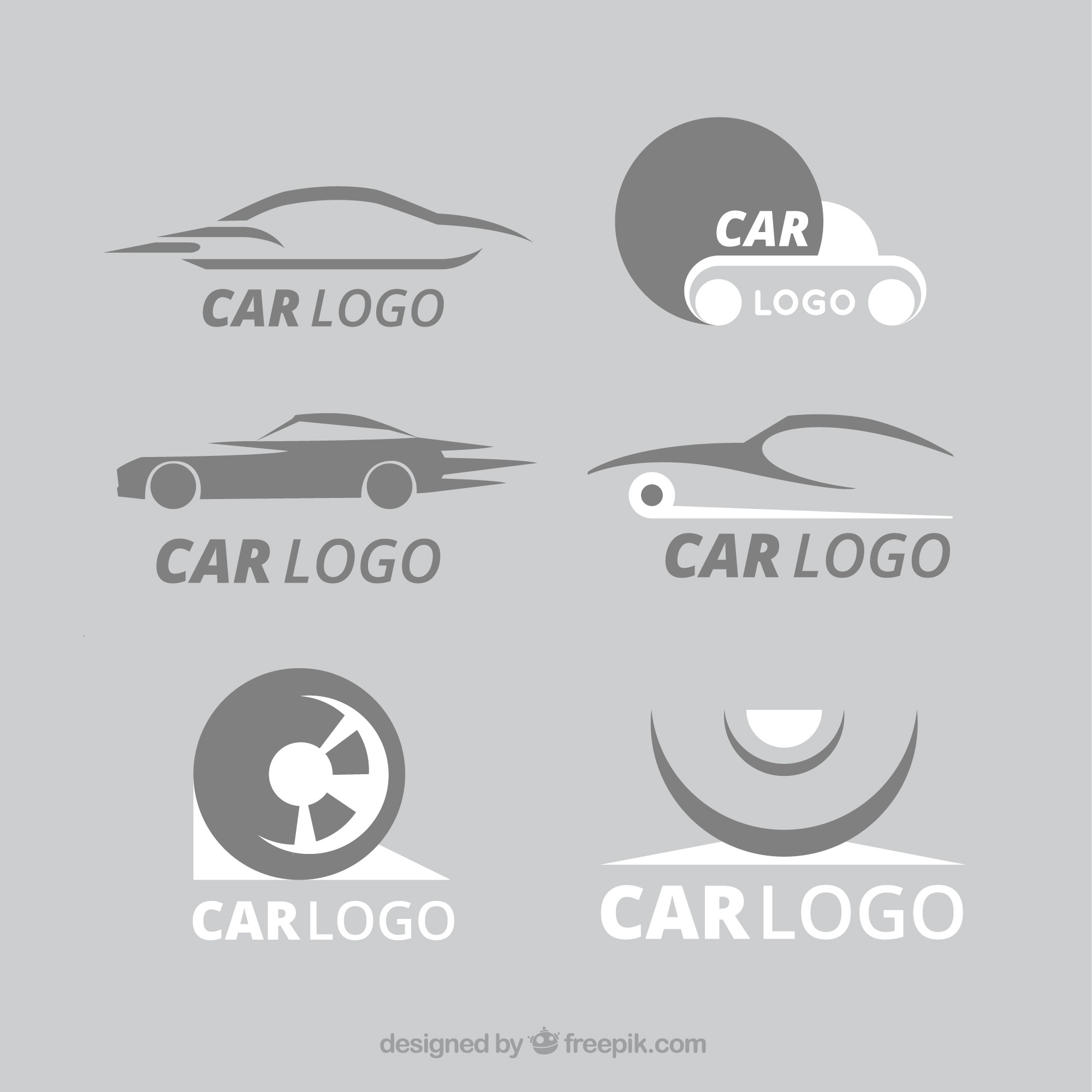 White and gray car logo collection