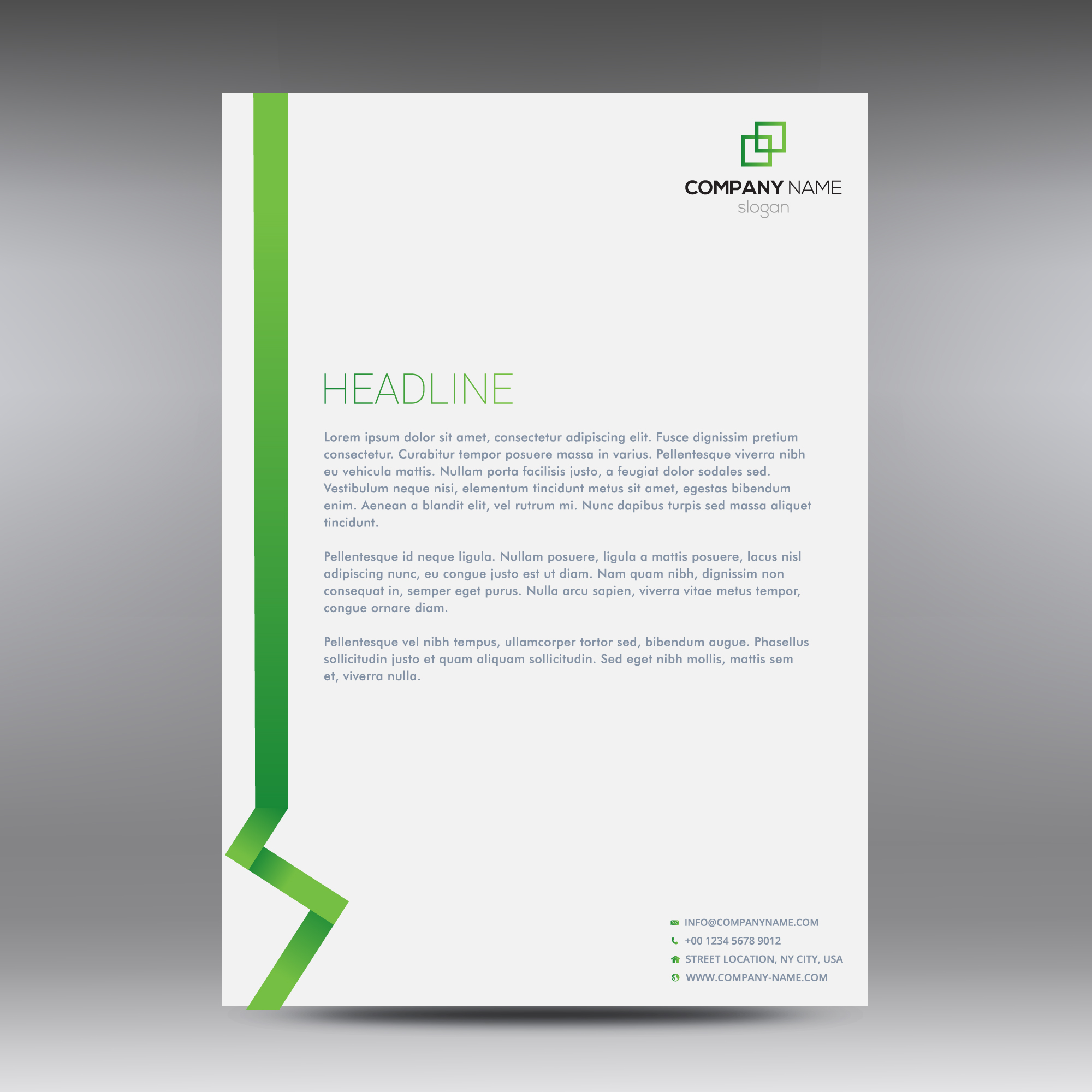 White and green business document