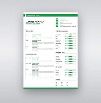 White and green resume template