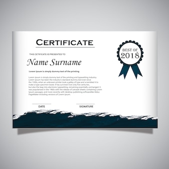 White and Navy Blue Certificate Card