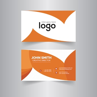 White and orange business card