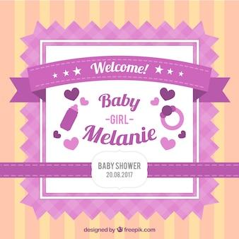 White and purple baby shower invitation