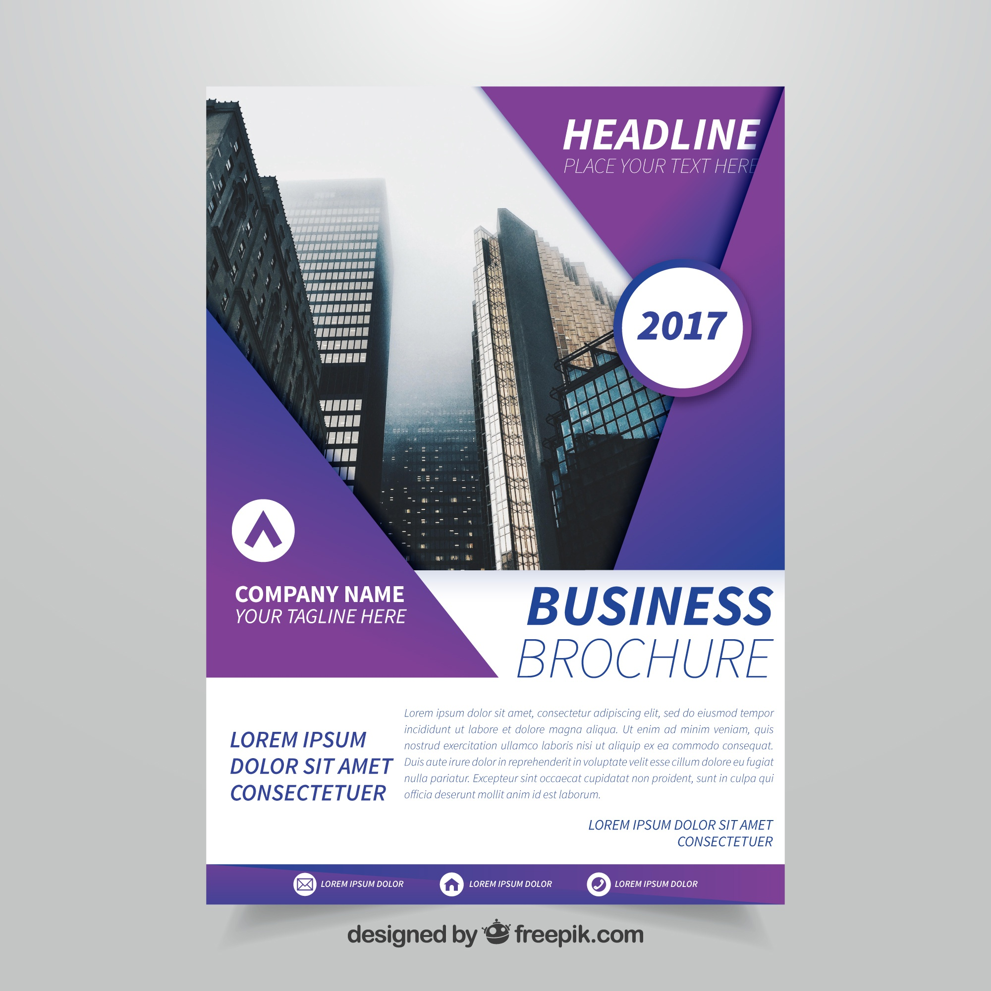White and purple business brochure