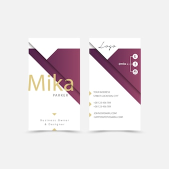 White and purple business card design