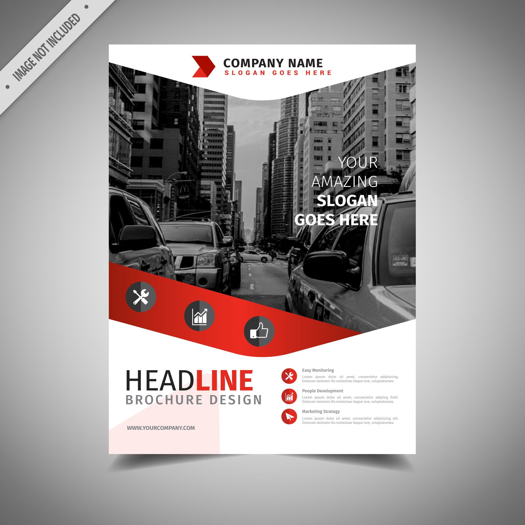 White and red business brochure