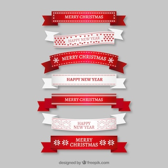 White and red christmas ribbons in flat design