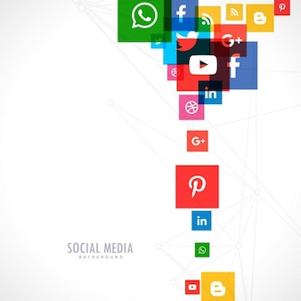 White background of colorful social media icons