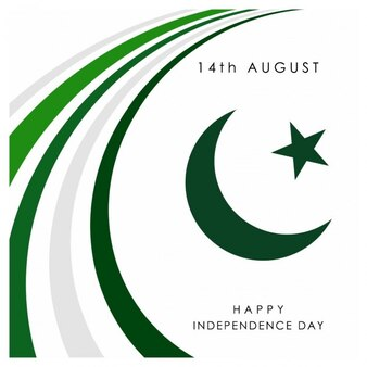 White background of green curves day and moon pakistan day