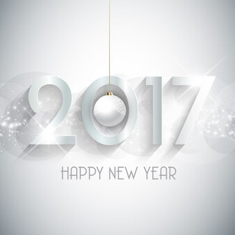 White background of happy new year 2017 with christmas ball