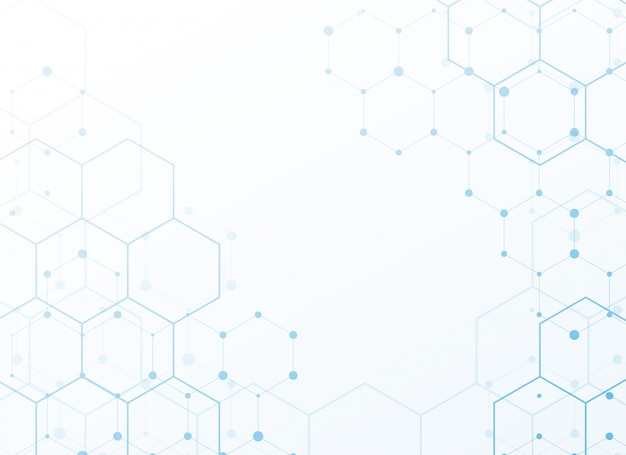 White background with blue tech hexagon