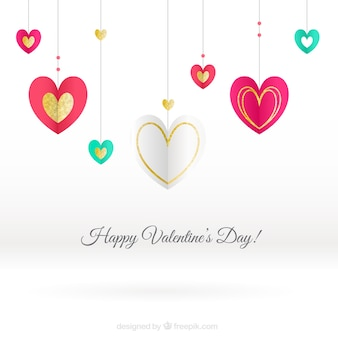 White background with colored hearts