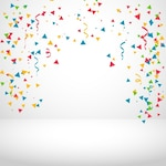White background with colorful confetti