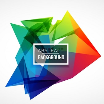 White background with colorful polygonal shapes