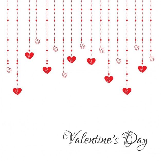 White background with hanging hearts