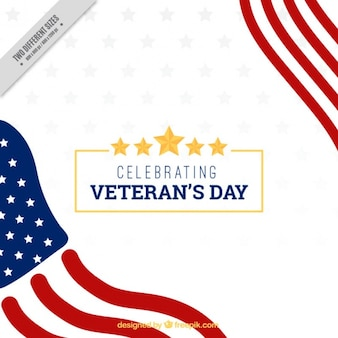 White background with the flag of the united states for veterans day