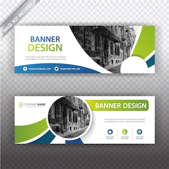 White banner with blue and green details