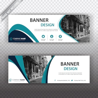 White banner with blue details