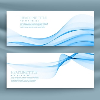 White banner with blue wavy lines