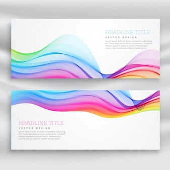 White banners with colorful wavy lines
