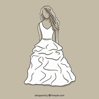 White bride dress sketch