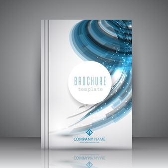 White brochure with blue wavy shapes