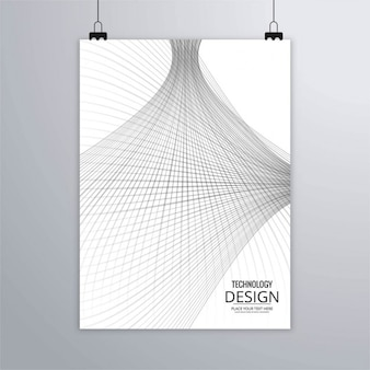 White brochure with gray lines