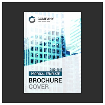 White business brochure with blue details