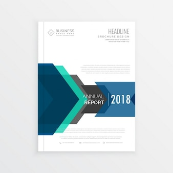 White business brochure with blue geometric shapes