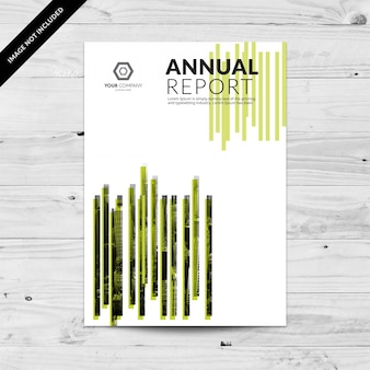 White business brochure with green lines