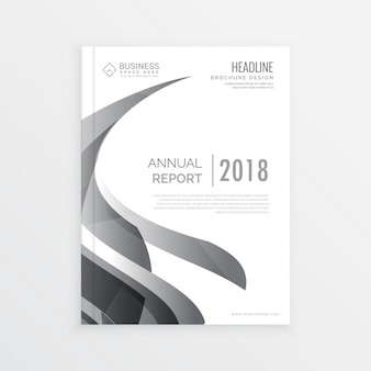 White business brochure with wavy gray shapes