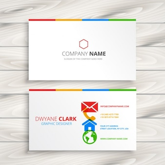 White business card with colorful icons