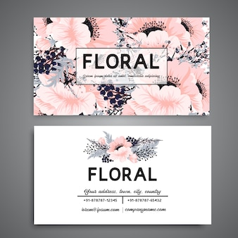 White business card with flowers