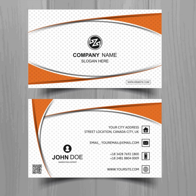 White business card with orange shapes