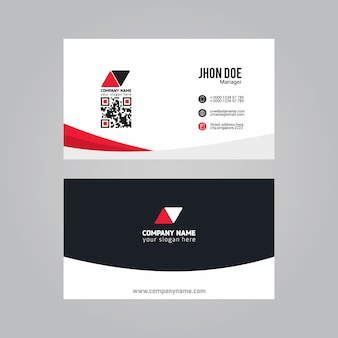White business card with red and blue details