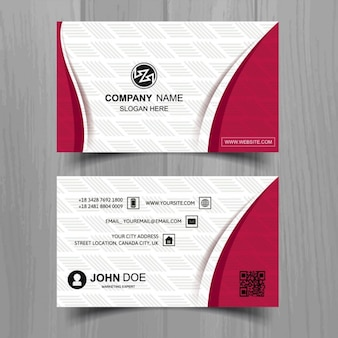 White business card with red elements