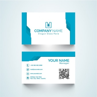 White business card with shapes in blue tones