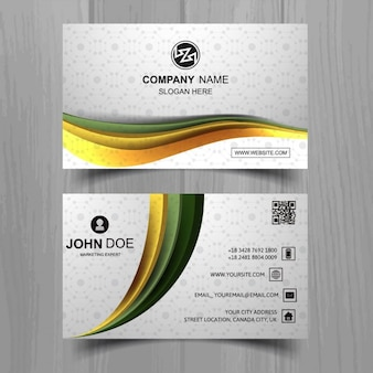 White business card with yellow wavy shapes