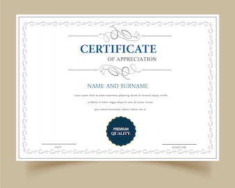 White certificate of appreciation