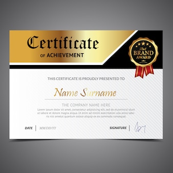 White certificate with gold details