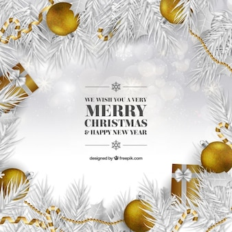 White christmas background with golden baubles