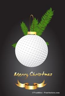 White christmas ball greeting card