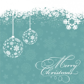 White christmas balls with snowflakes background