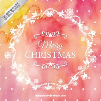 White christmas wreath on watercolor background