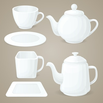 White crockery set
