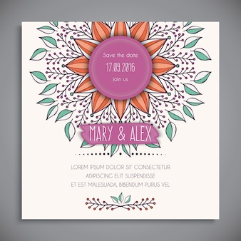 White floral wedding invitation template