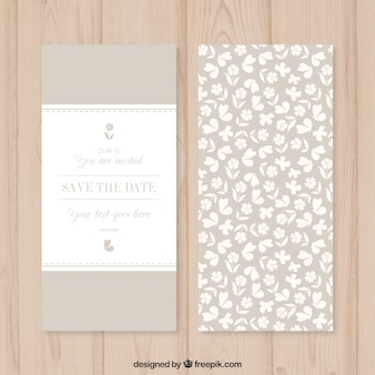 White flowers wedding card in beige color