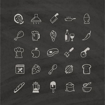 White food icons on a black background