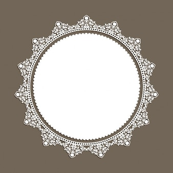 White frame with decorative ornaments